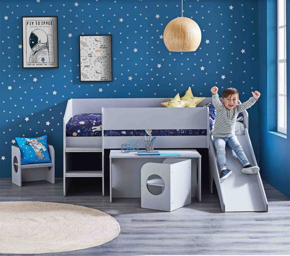 The 'Neptune' Single Mini Sleeper Kids Bed pictured with 'Space Monkey' Quilt Cover Set.