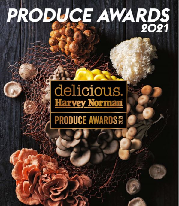 Various mushrooms produced in Australia with the delicious Harvey Norman Produce Awards logo on top.