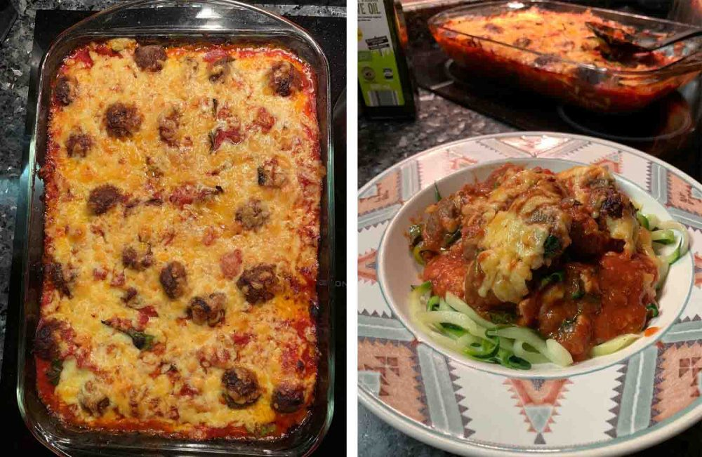 Meatball Cheesy Bake recipe featuring meatballs that have been airfried in the Philips Smart XXL Airfryer.