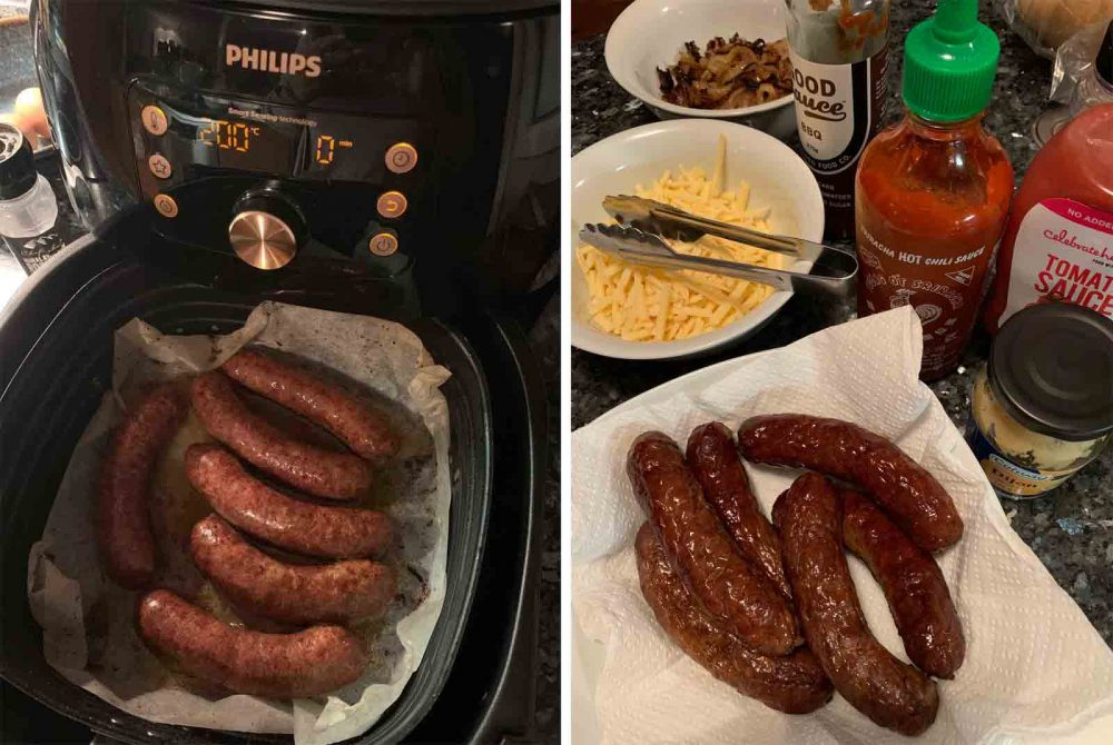 Airfried sausages cooked in the Philips XXL Smart Airfryer (using no oil!)