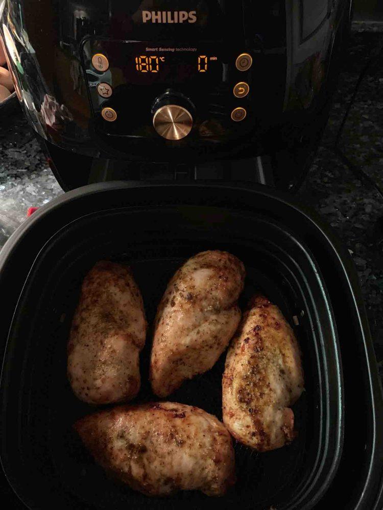Chicken Breast cooking in the Philips Smart XXL Airfryer.