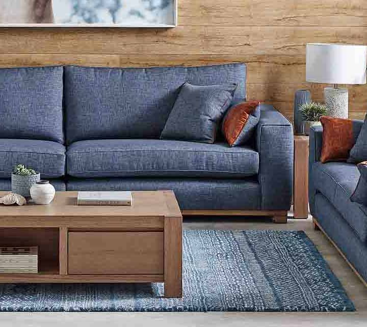 An Australian Made Sofa being used for winter interior styling.