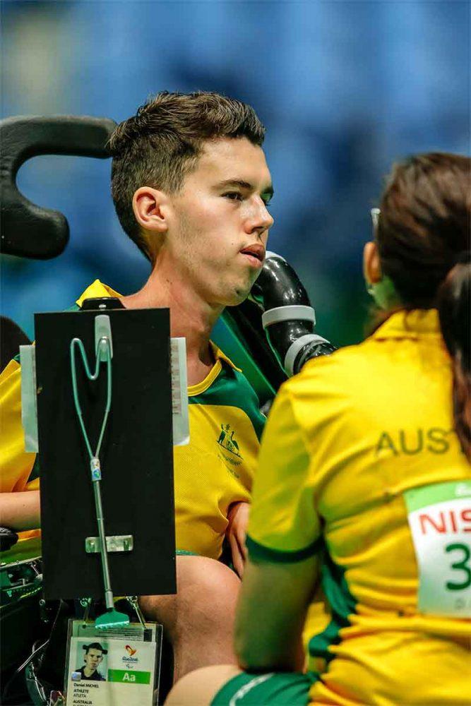 Dan Michel in competition, wearing his Team Australia. uniform.