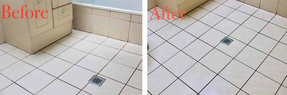 Before & After photos of our reviewer's son's bathroom upon using the Bissell SpinWave Cordless Mop.