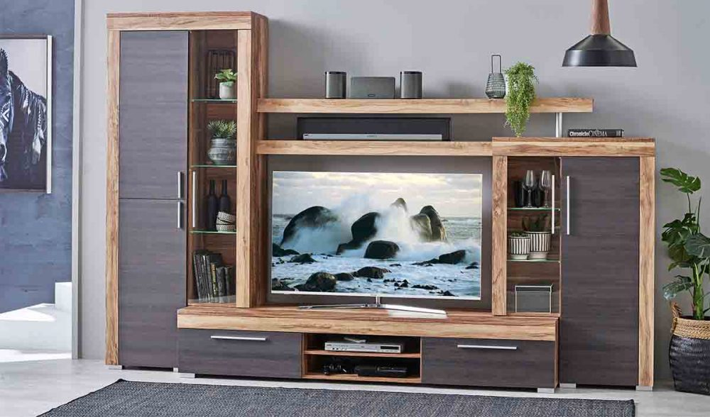 The Boom Home Theatre Unit with a TV set up in it.