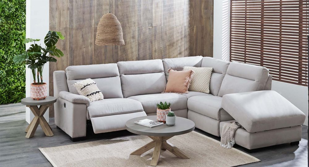 Autumn Home Furniture: 'Boulevard' 5-Piece Fabric Powered Recliner Modular Sofa with Chaise