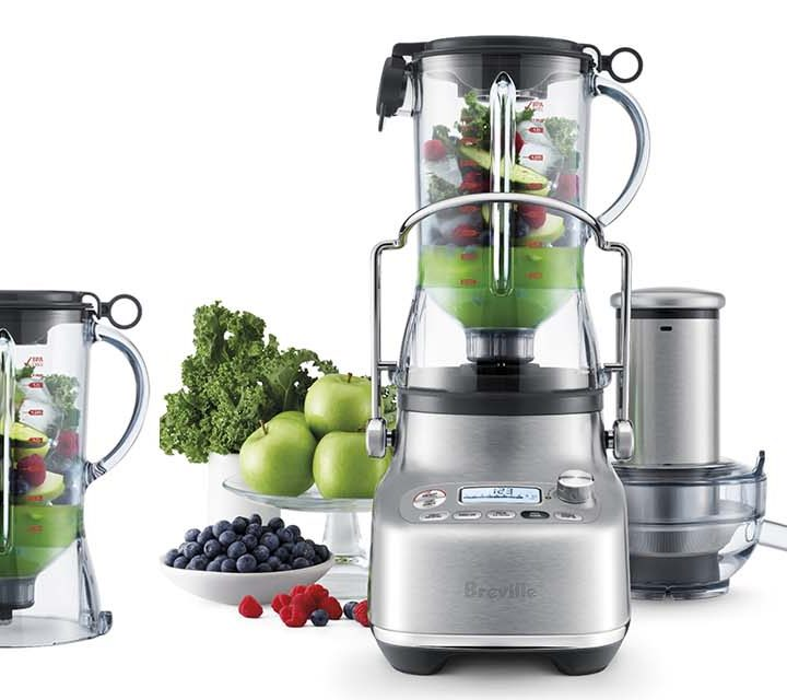 various images of Breville the 3X Bluicer Pro blending and juicing.