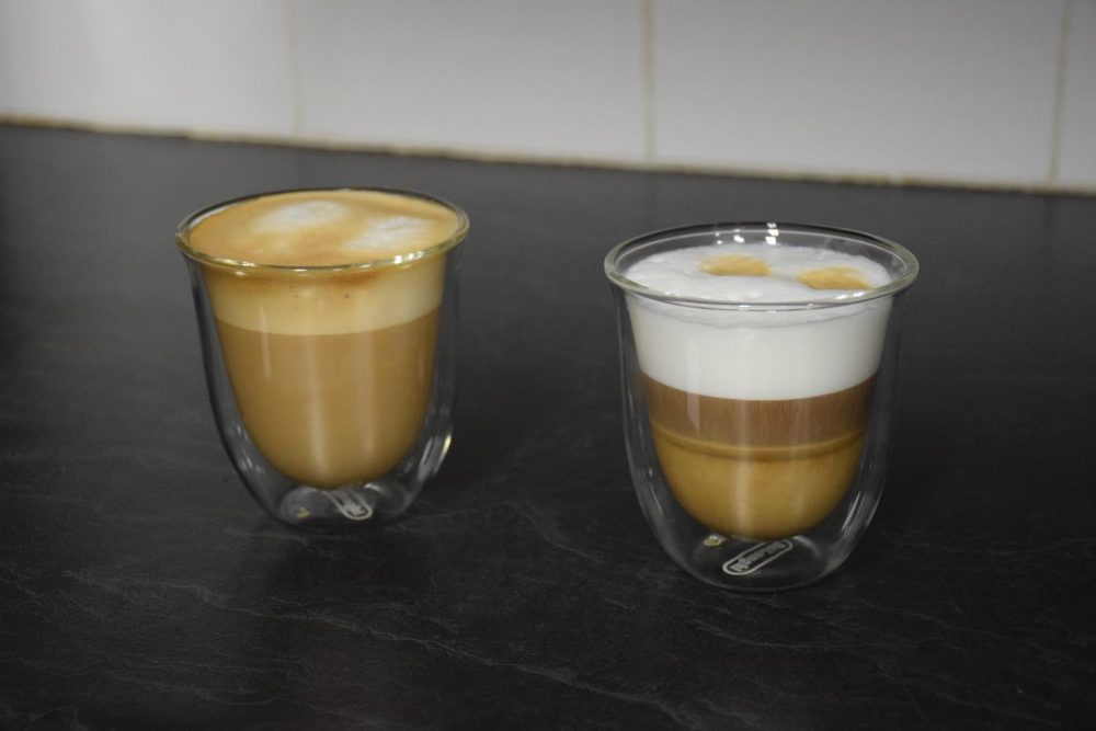 A European style cappuccino and non-traditional variety made with the De'Longhi Maestosa Coffee Machine.