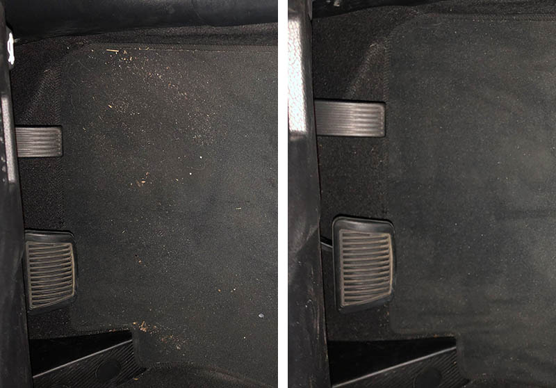 Our Miele Triflex HX1 reviewer's car floor before and after using the stick vacuum.