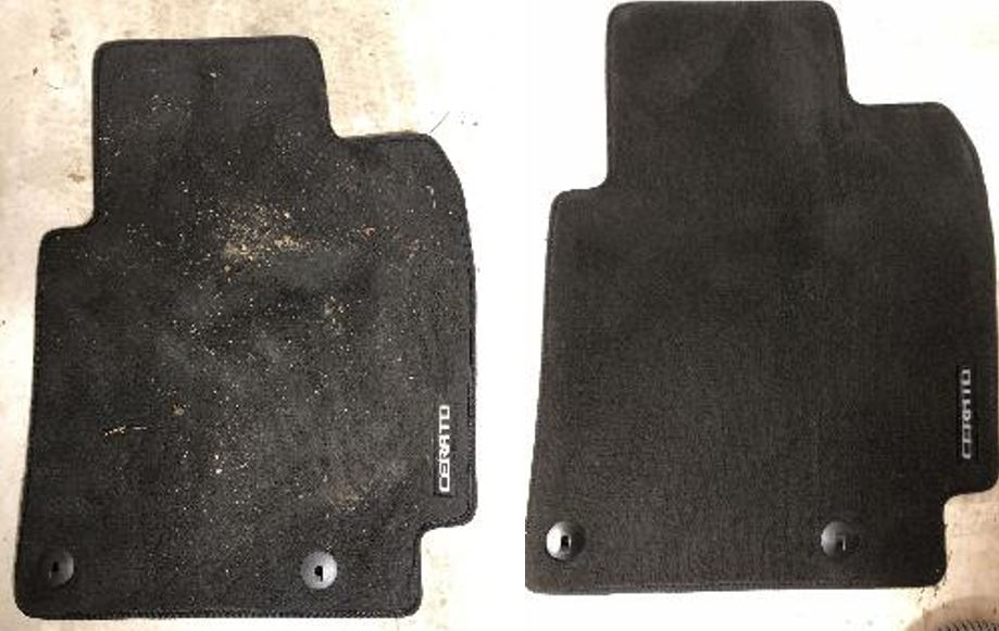 A car mat before and after being cleaned with the BISSELL SpotClean Professional Carpet and Upholstery Cleaner.