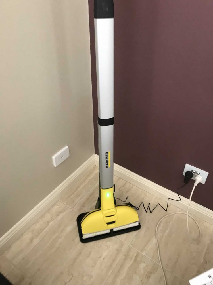 the Karcher FC3 Cordless Hard Floor Cleaner charging.