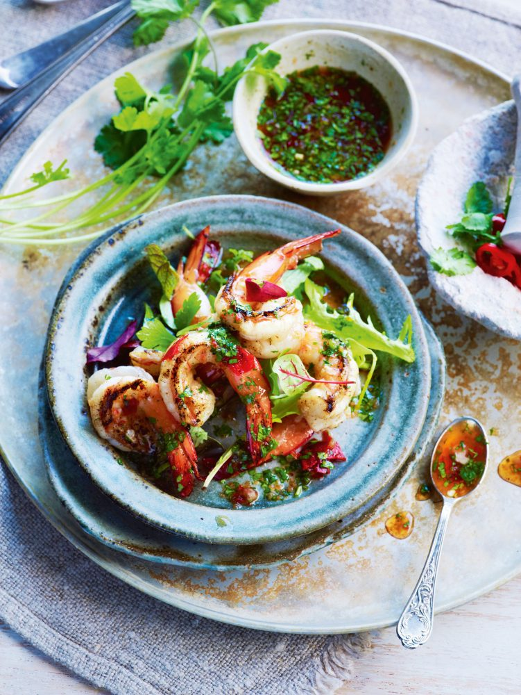 Charred lemongrass and lime prawns with spicy coriander dressing recipe