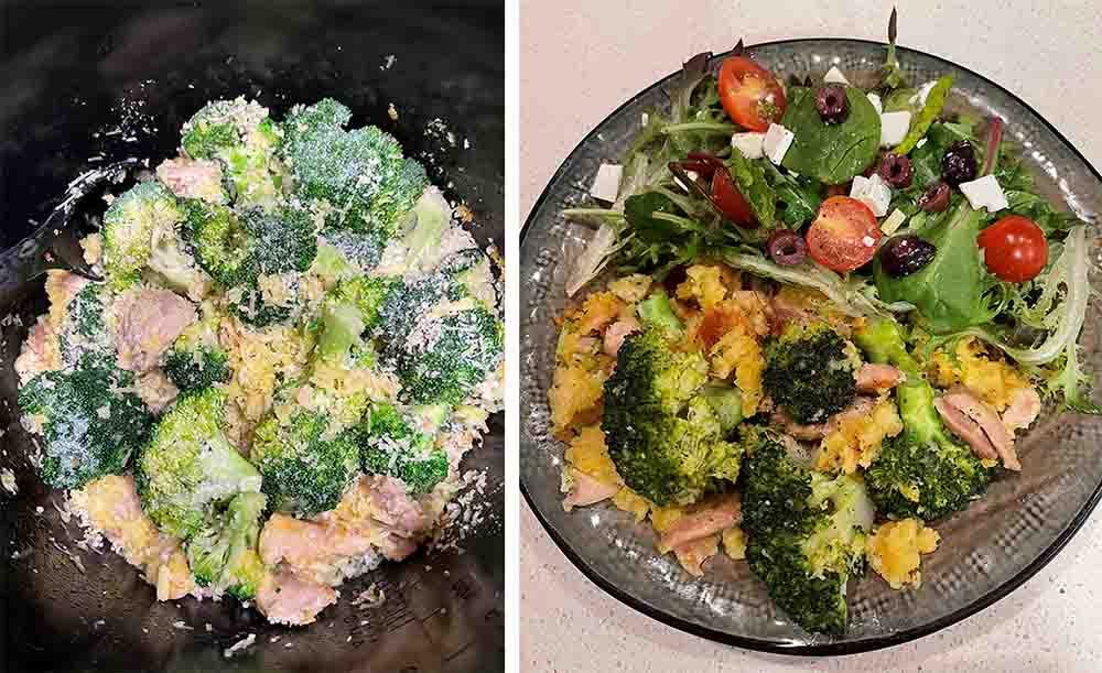 A Chicken & Broccoli Hotpot recipe before and after being cooked in the Philips 8L All In One Cooker.