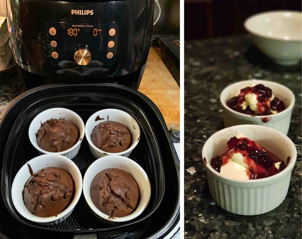 Choc Lava Cake cooked in the Philips Smart XXL Airfryer.