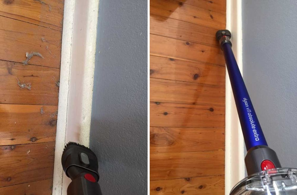Images of floorboards and skirting before and after being cleaned with the Dyson V11 Absolute Extra.