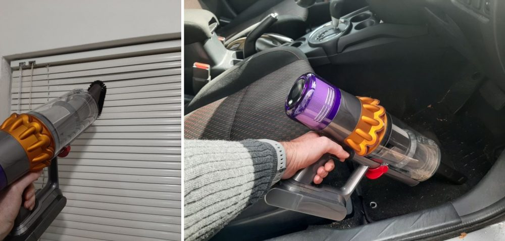 Cleaning blinds and car mat with the Dyson V15 Detect Total Clean.