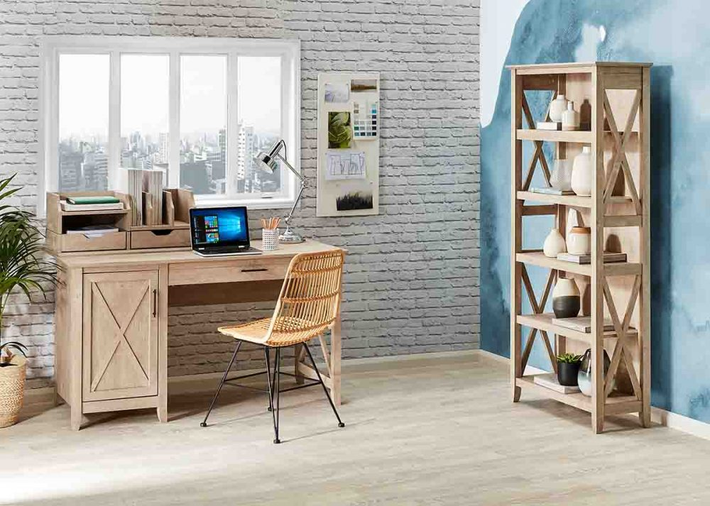 The 'Coastal Furniture Collection including a home office desk and a bookcase.