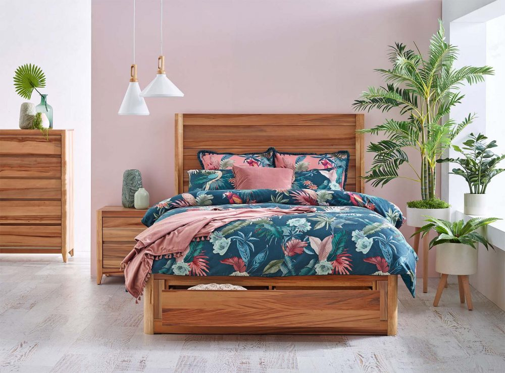 Contemporary bedroom look: Fuji Bed with Fernanda Quilt Cover Set