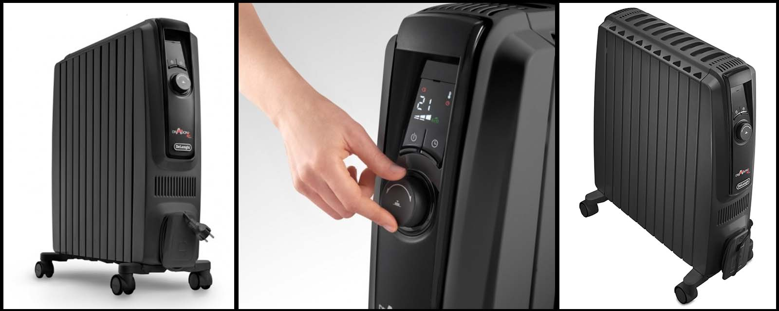 Three images of the DeLonghi Dragon 4 Pro Heater.