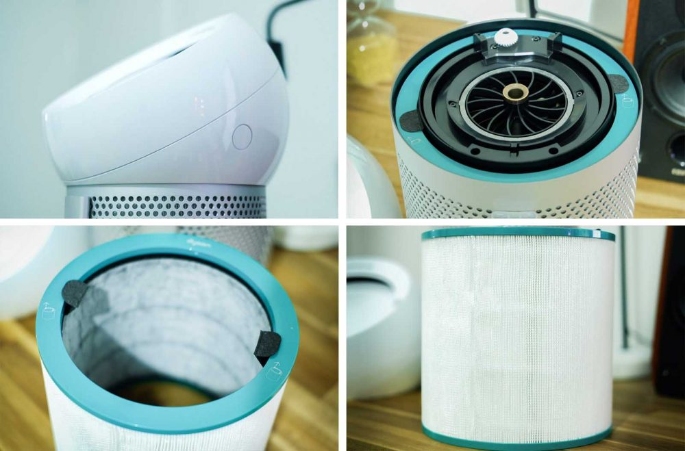 Four images of various parts of the Dyson Pure Cool Me personal purifying fan.