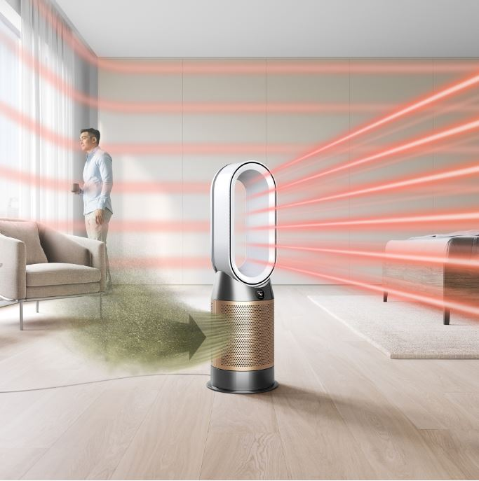 Graphic showing the Dyson Formaldehyde purifiying a room.