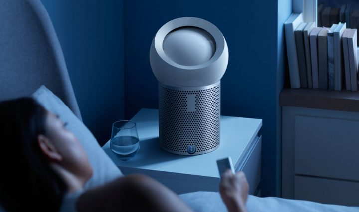 Dyson Pure Cool Me personal purifying fan next to bed.