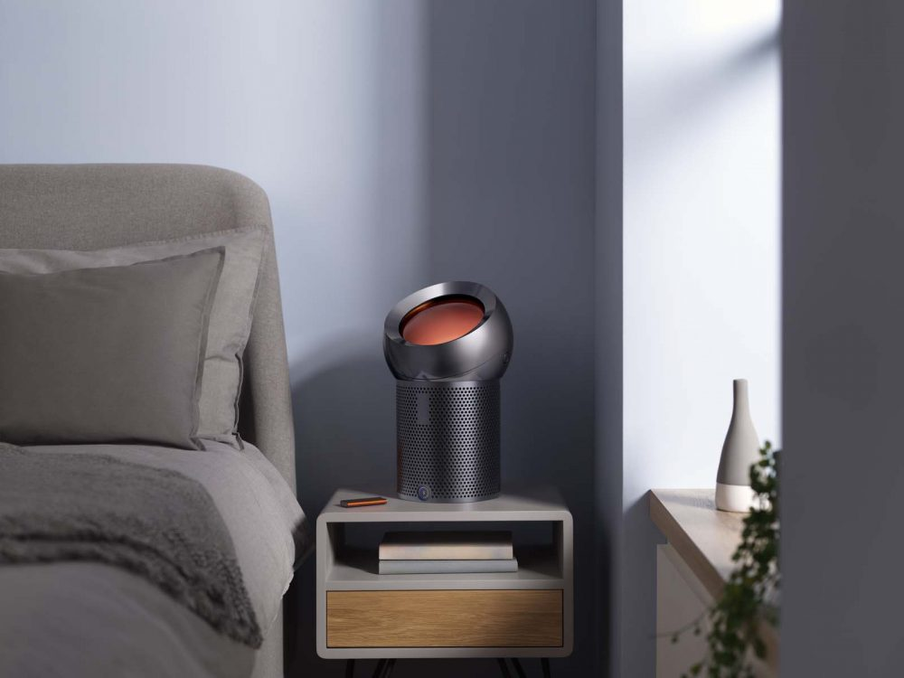 The Dyson Pure Cool Me personal purifying fan being used in the bedroom.