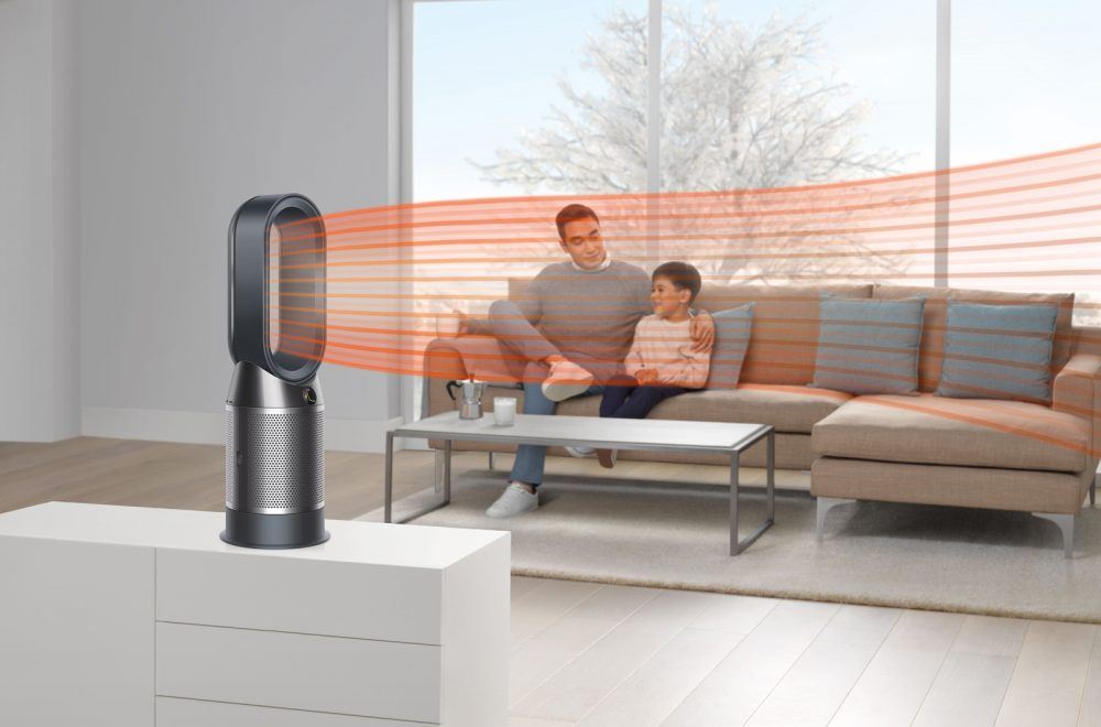 The Dyson Pure Hot+Cool purifying fan heater's concentrated air flow can be used to heat or cool you.