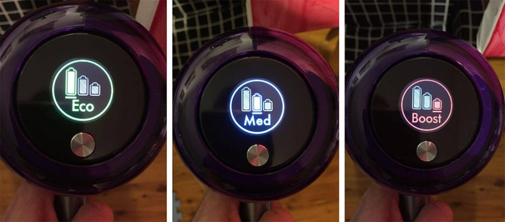 Three images of the Dyson V11 Absolute Extra Cordless Vacuum's LCD screen. The first image shows it in Eco cleaning mode, the second in Auto/Medium, and the third in Boost cleaning mode.