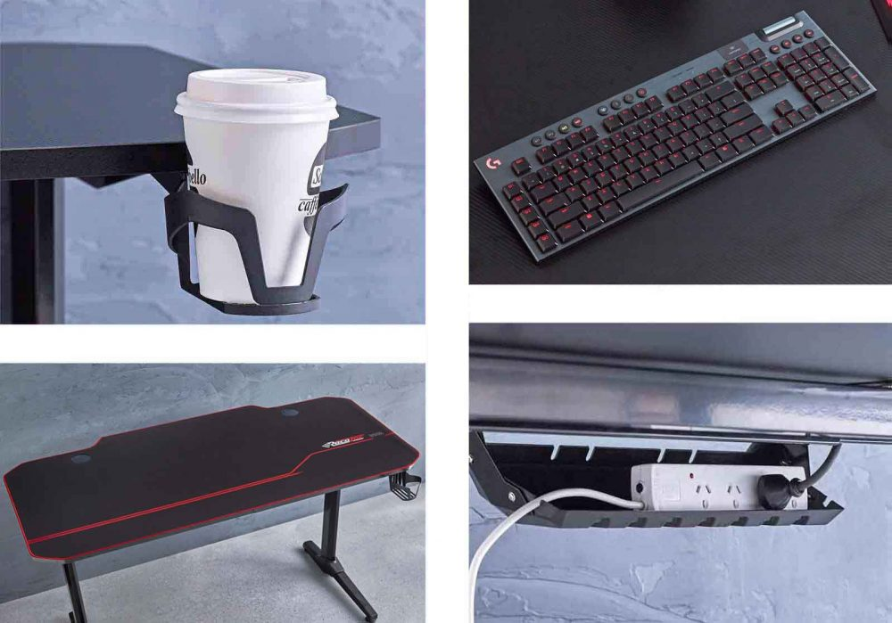 Eagle Gaming Desk Features, including coffee cup holder and cable and powerboard storage.