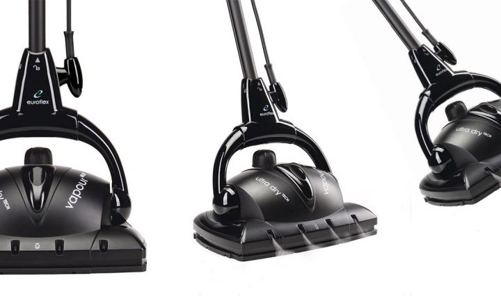 The Euroflex Vapour M2R Floor Steam Cleaner pictured three times.