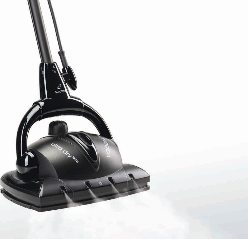 Frontal steam coming out of the Euroflex Vapour M2R Floor Steam Cleaner.