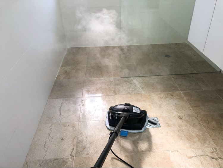 Cleaning the bathroom floor with the Euroflex Vapour MR2 Floor Steam Cleaner.