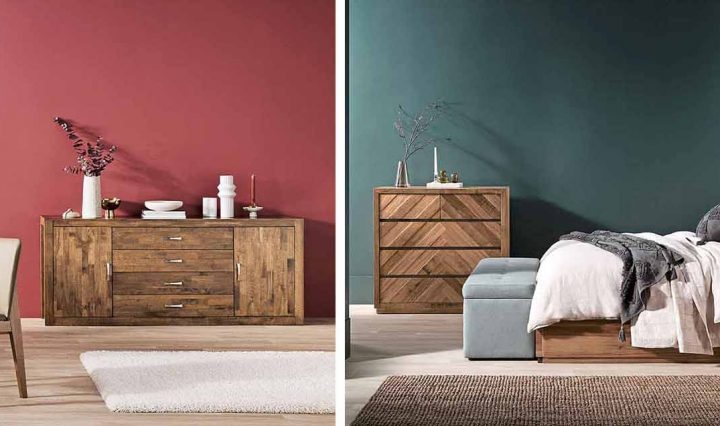 Dining and bedroom furniture in colourful rooms.