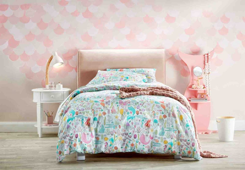 The 'Happy Mermaid' Quilt Cover Set for kids.