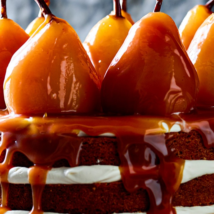 Hazelnut-and-honey-cake-with-spiced-caramel-pears-recipe