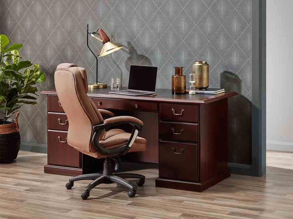 The Huon Executive Home Office Desk with lamp and laptop on it.