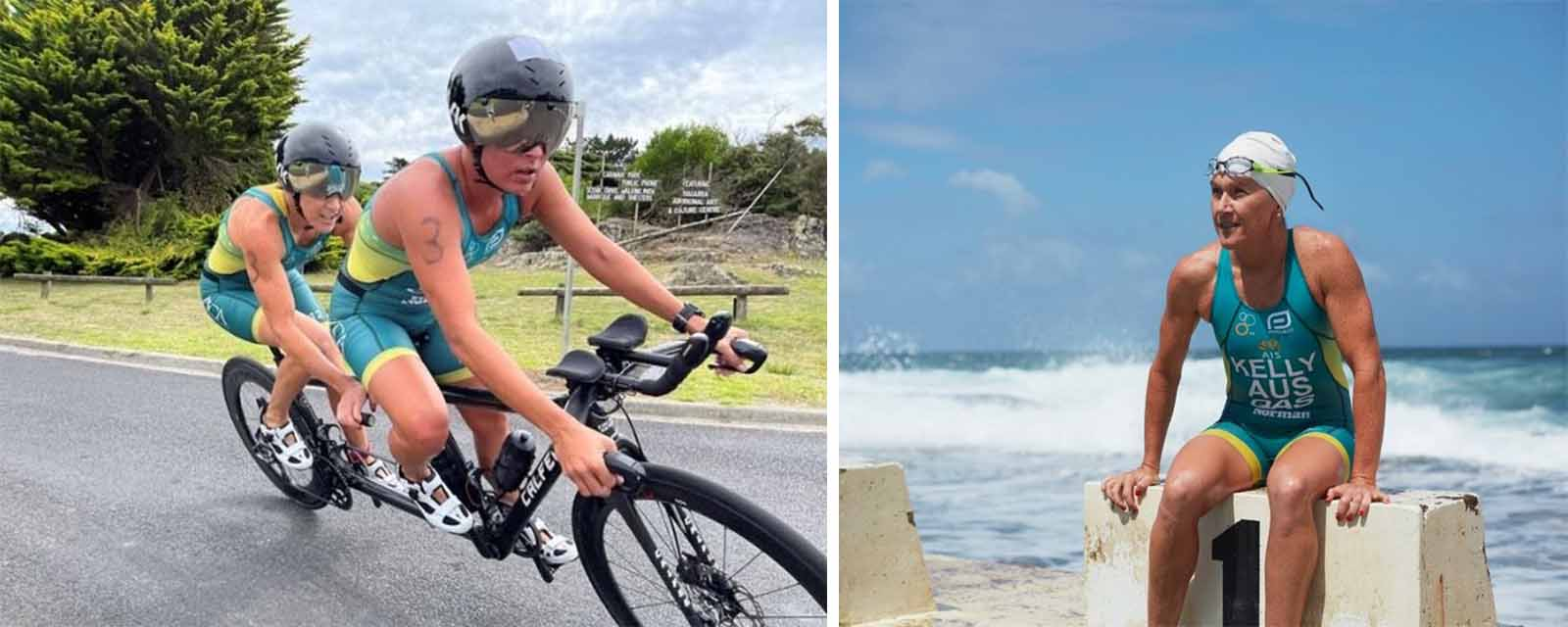 Pictures of Katie Kelly bike riding with guide and ready to swim.