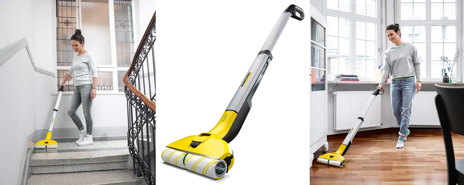 Karcher FC3 Cordless Hard Floor Cleaner being used on stairs and timber floor boards.