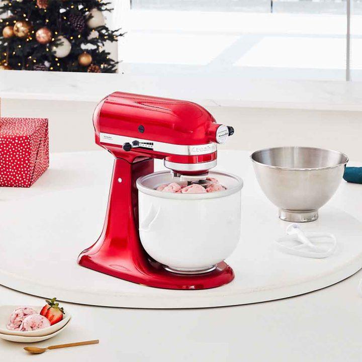 KitchenAid Artisan Stand Mixer creating mix for a Strawberry and Vanilla Bean Ice-cream Recipe.