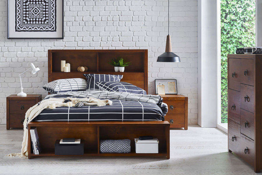 Knoll-chocolate-coloured-timber-bed