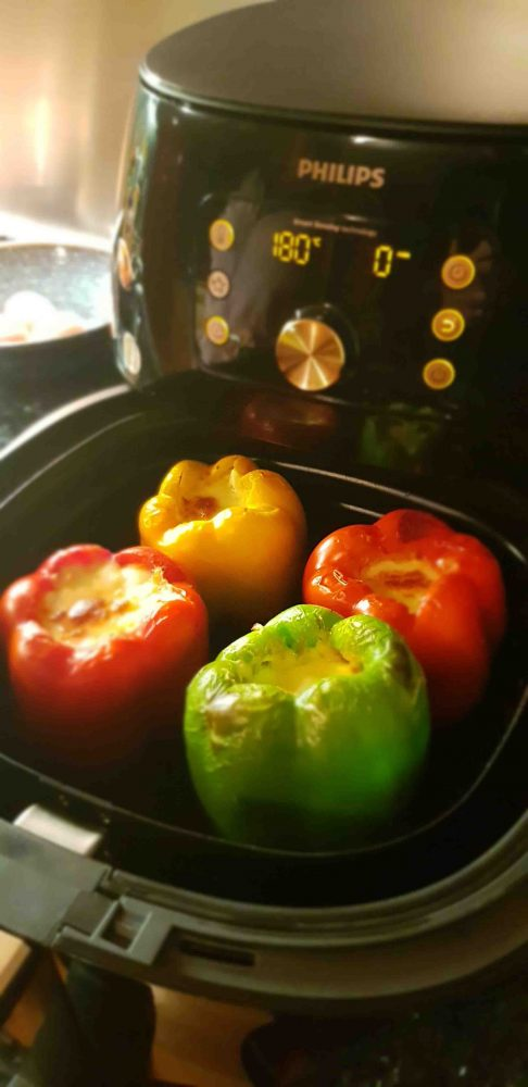 Airfrying Lasagne Stuffed Capsicum in the Philips Smart XXL Airfryer.