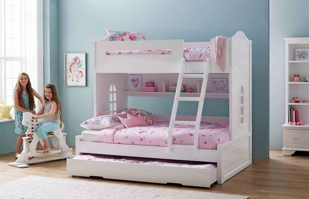 Luna Bunk Bed for teens with the Magic Unicorn Quilt Cover Set.