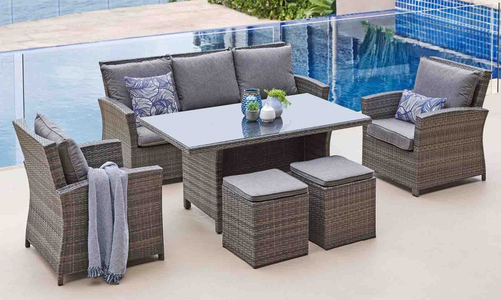 Malta 6-Piece Wicker Lounge+Dining Setting.