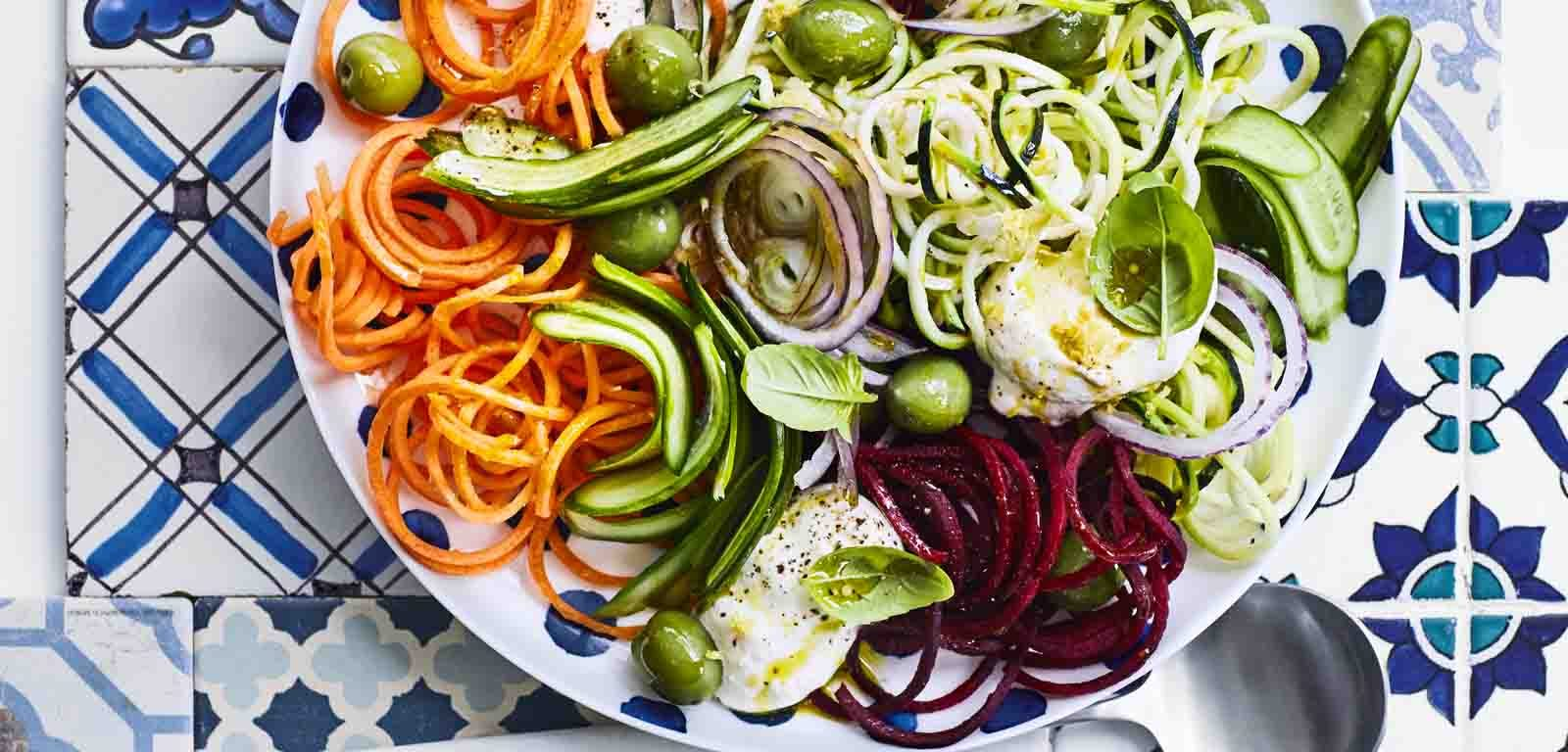 Mediterranean-Style Salad with Raw Vegetable Noodles.