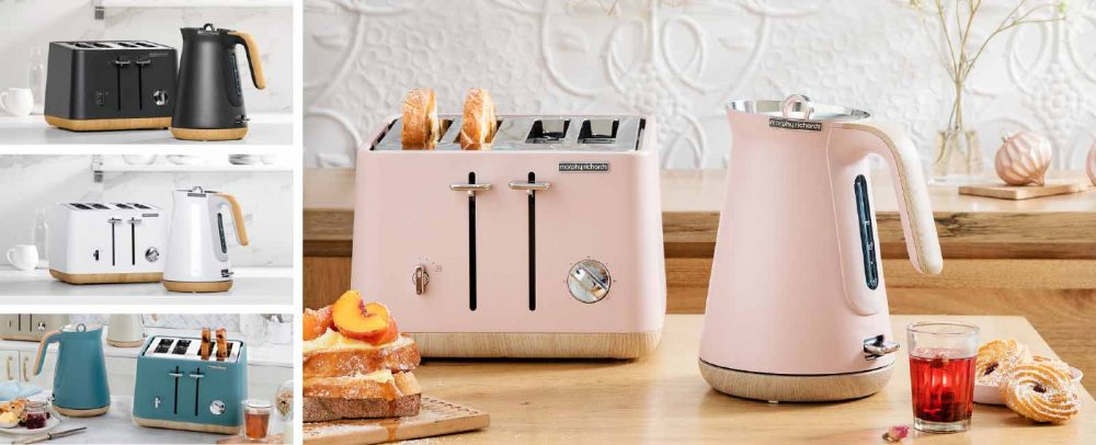 Various Morphy Richards Scandi Coloured Toasters & Kettles.