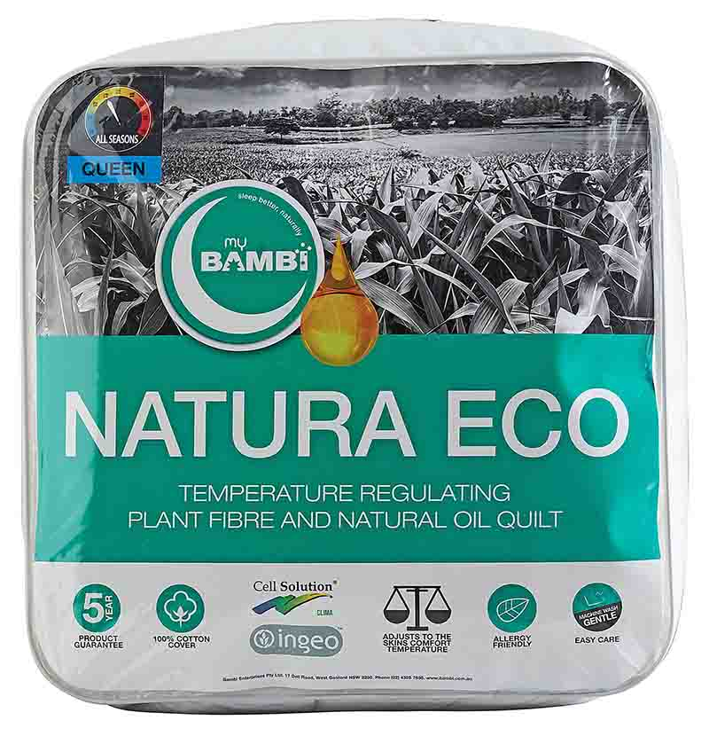 The Australian Made Natura Eco Clima Ingeo Quilt in packaging.