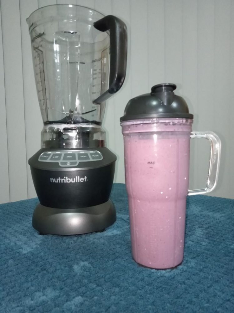 The delicious blueberry smoothie our reviewer created with the NutriBullet Blender Combo.