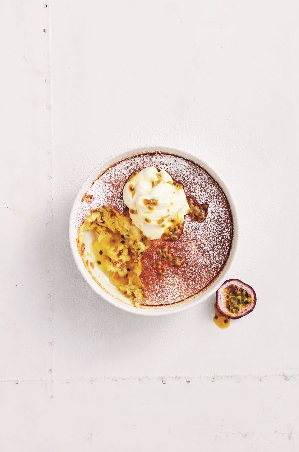 Passionfruit Self-Saucing Pudding recipe plated.