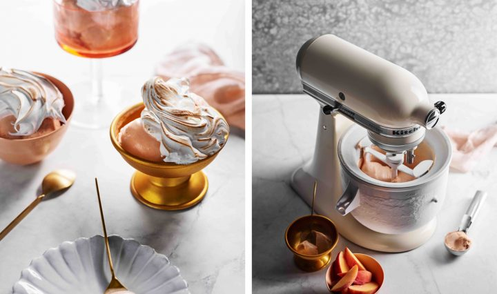 Peach Melba Gelato Burnt Meringue Recipe